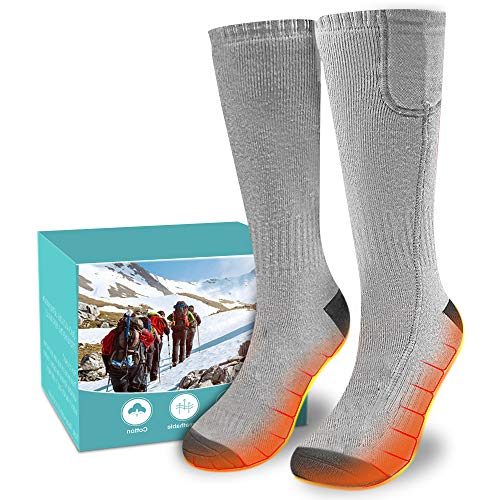 XBUTY Heated Socks for Women Men, Rechargeable Electric Socks Battery Heated Socks, Cold Weather Thermal Socks Sports Outdoor Camping Hiking Warm Winter Socks (Gray)
