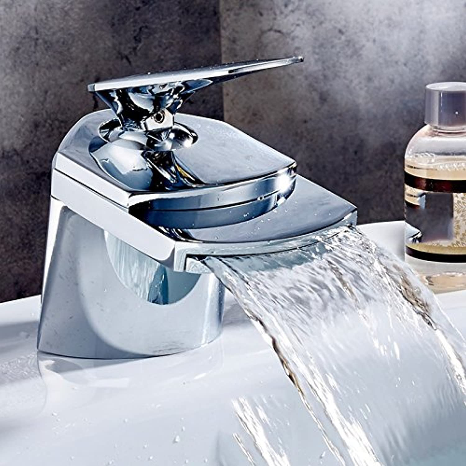 Hlluya Professional Sink Mixer Tap Kitchen Faucet The waterfall basin mixer single hole hot & cold water,