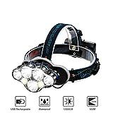 Linterna Frontal LED, SGODDE Luz Frontal de USB Rechable 5500 lm...