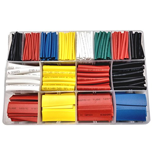 Copapa 610 pcs 2:1 Heat Shrink Tube 6 Colors 10 Sizes Tubing Set Combo Assorted Sleeving Wrap Cable Wire Kit for DIY Kit - 2:1 Shrink Ratio (610CS)