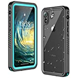 Temdan iPhone XR Case Waterproof,Clear Sound Quality Built in Screen Protector Heavy Duty IP68 Waterproof Support Wireless Charging Shockproof case for iPhone XR 6.1inch Teal/Clear