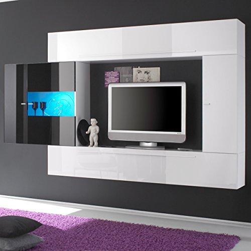Wohnwand PRIMO A TV Anbauwand weiß und schwarz Hochglanz lackiert