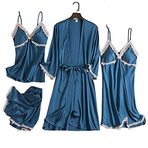 LLKK Conjunto de pijama para mujer de seda 4 piezas sexy Cami ropa de dormir Top de satén batas de ropa de dormir batas cortos camisones