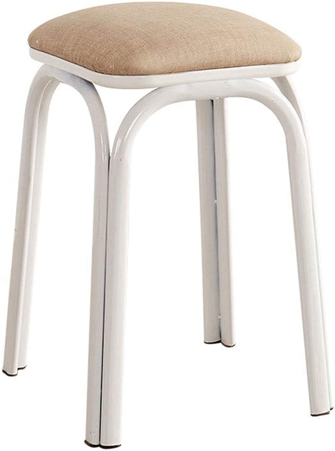 Metal Dining Table Stool, High Resilience Sponge Filled Square Stool Simple Chair, Cloth Seat Surface - 26cm X 46cm (color   Brown)
