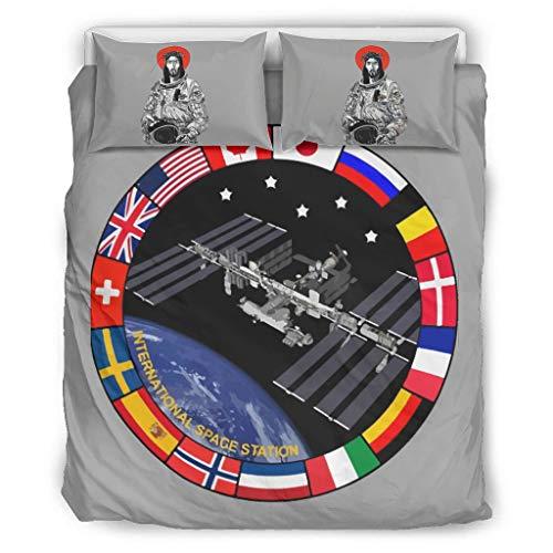 NC83 Het Internationale ruimtestation van de NASA dekbedovertrekset Vantage 3-delig hoofdkussen- en hoofdkussenslopen - oplichtend Soft & Comfort Boho beddengoedset
