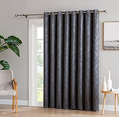 """LinenZone Evelyn - 1 Patio Extra Wide Curtain Panel with 16 Grommets - Embossed Thermal Weaved Blackout - Noise Reduction Fabric - Ideal for Sliding and Patio Doors (Patio 102"""" W x 84"""" L, Charcoal)"""