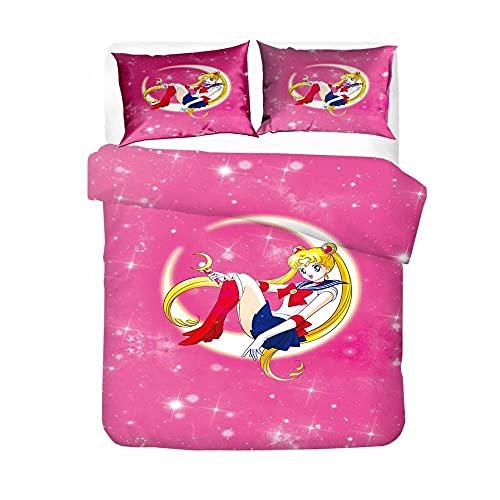 Juego de Funda de Edredón Marinero de La Luna Patrón de Anime de Dibujos Animados 180Cmx200Cm Ropa de Cama de Microfibra Suave Y Cómoda Luna Sailor Moon