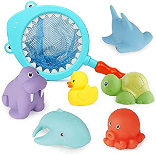 Mumoo Bear Baby Bath Toys, Scoop Net Fish Pool Toys with Spray, Sounds, Color Changing Toddler Bathtub Toys