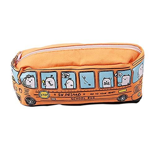 Cosmétique Sac De Mode Creative Femmes Papeterie Petit Bus Forme Maquillage Sac Toile Papeterie Sac19 * 6 cm-orange_19 * 6 cm
