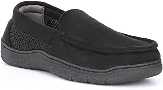 Roundtree & Yorke Men's Moccasin with Mesh Slippers, Black (S 7-8)