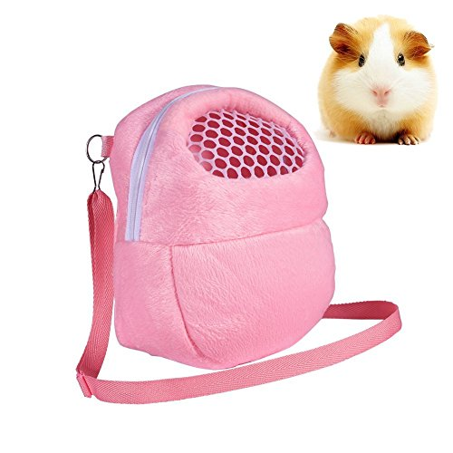 Yosoo Portable White Mesh African Hedgehog Hamster Breathable Pet Dog Carrier Bags Handbags Puppy Cat Travel Backpack (S, White Mesh - Pink)