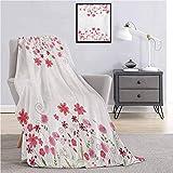 Manta supersuave de flores para decoración, contorno detallado, hierbas y flores, estilo nupcial, tema floral, duradera, sofá cama, 152 x 127 cm, color rosa, verde y blanco