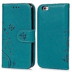 Coque de Protection pour iPhone 6 6S 4.7 Pouces, Phone Case Flip Cover Clapet 2 en 1 PU Cuir avec TPU Souple Fermeture Magnétique Motif Relief Papillon - Bleu