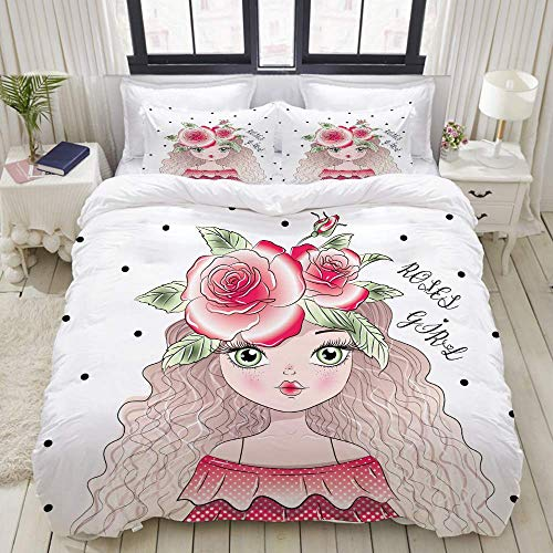 Nonun Duvet Cover Set, Red Roses Flowers Hair Cute Girl, Colorful Decorative 3 Piece Bedding Set with 2 Pillow Shams