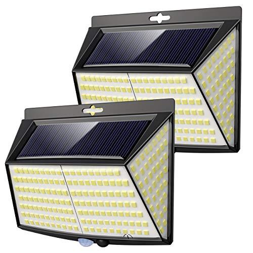 Vighep Solarleuchten für außen, 【2 Stück 228 LED】3 Modi 270° superhelle solarlampen für außen mit bewegungsmelder solarlampen iposible IP65 wasserdichte solar aussenleuchte mit bewegungsmelder