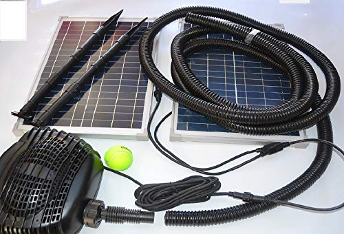 MNP SP50 50W Powerful Twin Panel Solar Powered Submersible Pond Pump Kit 898 GPH. NO BATTERY. Ready to connect to waterfall or filtration. USA based support 7 days a week.