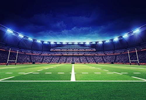DORCEV 10x8ft American Football Stadium Backdrop for Super Bowl Fans Theme Party Photography Background Green Grass Rugby Match Night Playground Sports Game Party Banner Adults Photo Studio Props