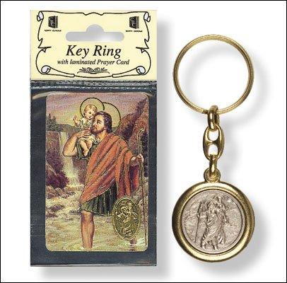 St SAINT CHRISTOPHER Goud & Zilver Metaal Sleutelhanger & Gebed Verse Kaart en Liefde Token