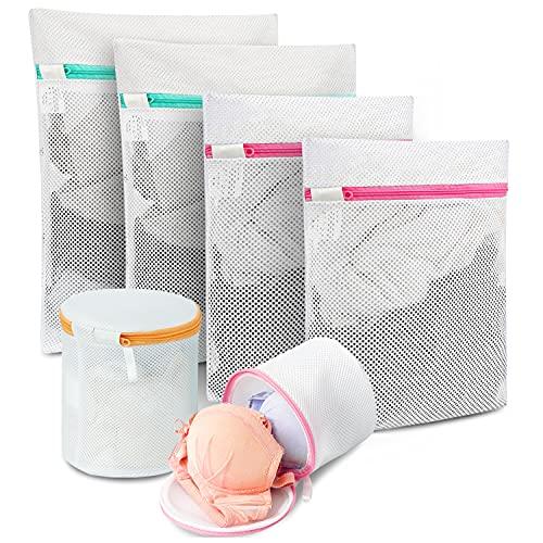 Amazon Brand - Eono Bolsa para Lavadora Bolsa Malla de Lavandería para Lavadoras Bolsas de Colada para Ropa Delicada Sujetador Interior Calcetines Zapatos - 6-Pcs (2L+2M+2Bolsa de Sujetador)