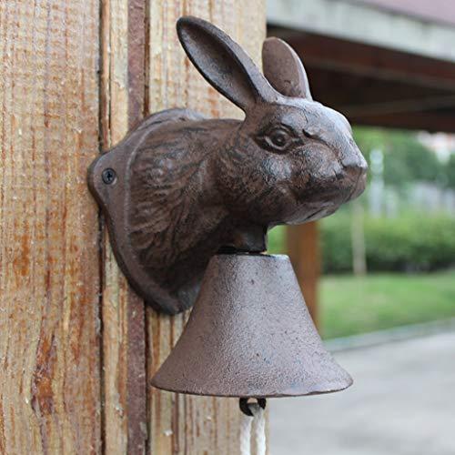 SXZHSM gietijzer konijnenhoofd klok Frans antieke smeedijzeren wanddecoratie café decoratie tuin hanger 13x11,5x19,5 cm deurbel