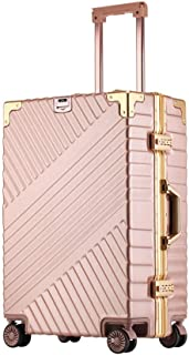 SMLCTY Luggage,carry On Suitcase,Hand Luggage, Lightweight ABS+PC Retro Aluminum Frame Portable Mute 4 Wheel Trolley Case (Color : Pink, Size : 26 inch)