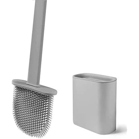 Brosse de Toilette avec Support, Brosse WC Silicone Flexible, Brosse de Toilettes à Séchage Rapide et Récipient pour Salle de Bain avec Support Murale, Grise