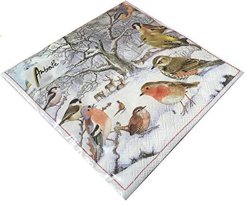 Papier Servietten Christmas Bird Meeting Lunch Party Fest Ca. 33x33cm fuer Herbst, Winter, Weihnachten