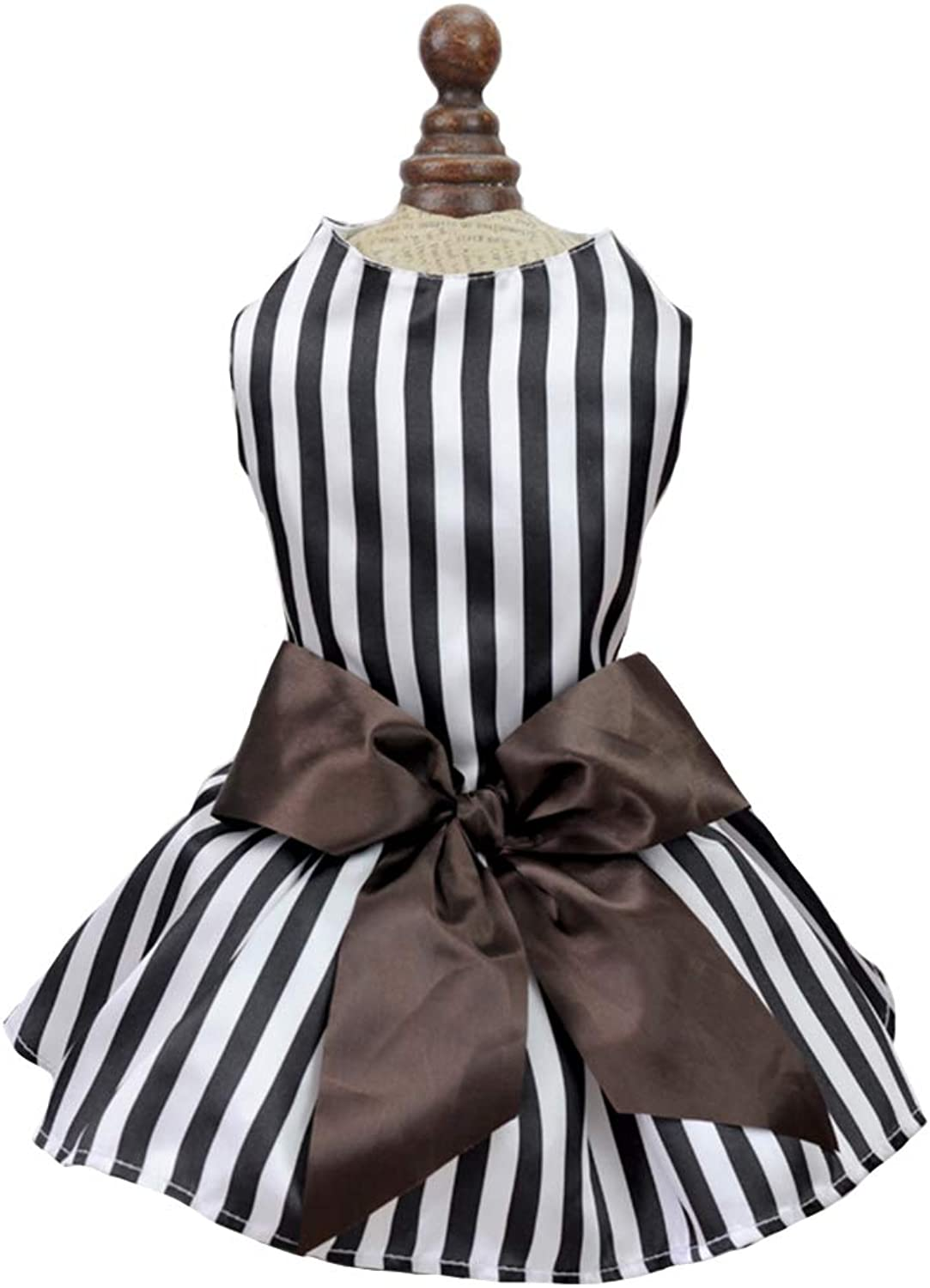 Dog Dress Black and White Stripes and Brown Bow for Summer Small Dog Princess Dress Cat BowKnot,L