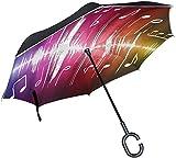 Inverted Umbrella Music Notes Clipart Blatt Wassertropfen Großer UV-Schutz Winddicht Doppelschicht (Lichtreflektierend)
