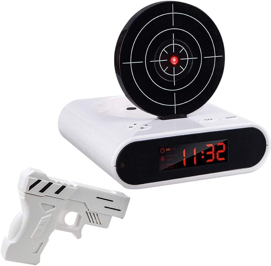 1 Juego de Reloj Despertador de Pistola / Reloj Despertador de Disparo / Reloj de Pistola / Bloqueo de Carga Reloj Despertador de Destino Gadgets de Oficina-Blanco