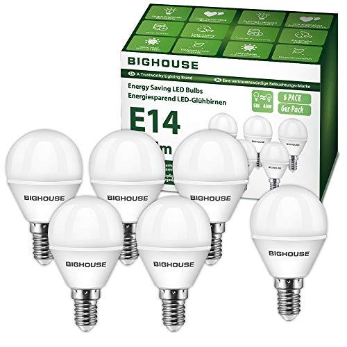 E14 LED Lampe P45, 5W 400 Lumen 3000 Kelvin Warmweiß Ersatz für 40W Halogenlampen, 270° Abstrahlwinkel, Tropfenform, CRI>80, 220-240V AC, 6 Stück