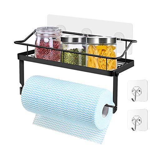 ZB ZealBoom - Porta carta da cucina con porta spezie da cucina, in acciaio inox, mensola per bagno, adesivo, porta asciugamani, bagno, WC, carta supporto per cucina o bagno, colore: Nero