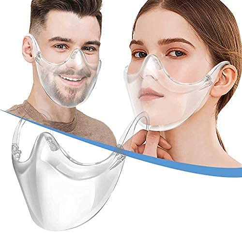 BeiYoYo Durable Clear Face Mask, Reusable Transparent Face Protection, Visible Expression,Breathable and Prevent Glasses Fog (1PC)