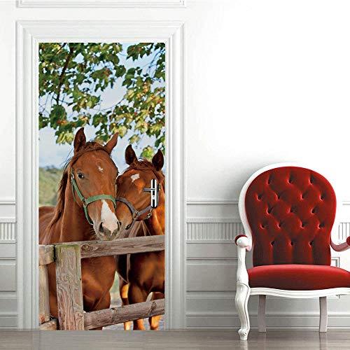 Modern Art - Adhesivo decorativo para puerta en 3D, 77 x 200 cm, vinilo extraíble para puertas interiores, dormitorio, sala de estar, baño, decoración del hogar, animales, dos caballos, valla