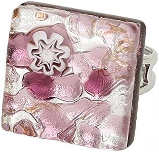 GlassOfVenice Anillo ajustable cuadrado de cristal de Murano con reflejos venecianos, color morado y plateado