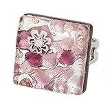 GlassOfVenice Anillo ajustable cuadrado de reflexiones venecianas de cristal de Murano - plata púrpura