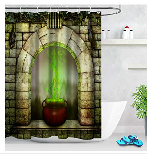 AdoDecor - Cortina de ducha resistente al moho, para Halloween, 150 x 180 cm, color verde