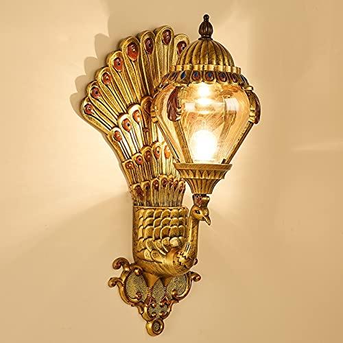 Zenghh Wall tailandés dominio Industrial de la lámpara al Aire Libre Prueba de Agua lámpara de Pared Montaje E27 Decoración Pavo Real de Oro Brillante Animal Adornos con