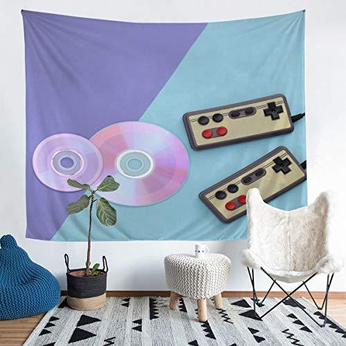 Loussiesd CDs Gamepad Tapiz para niñas y niños, videojuegos, gamepad colgante en la pared, color morado y azul, decorativo, manta de pared, consola y botones de acción, manta grande 58 x 79