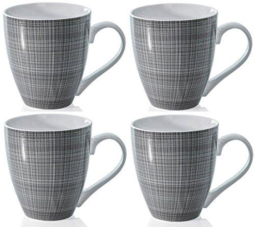 Boceto Conjunto de 4 Tazas Porcelana Extra Grande Café Sopa Caliente Cacao Tazas - Gris