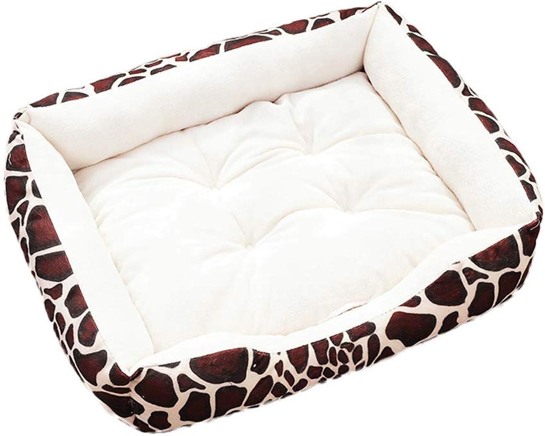 Pet Bed Pet Supplies Small and Medium Leopard Plaid Kennel Cat Litter Pet Litter Blanket Four Seasons Universal A+ (color   Beige, Size   L70cm)
