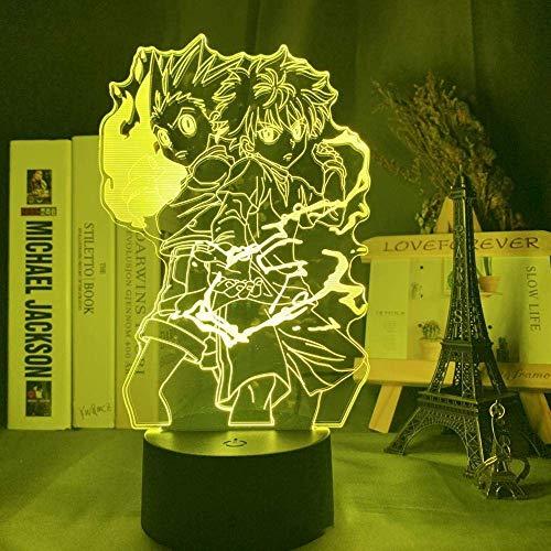 Lámpara de ilusión 3D LED noche luz Gon y Killua Figura Anime Hunter X Hunter para la habitación del niño decoración regalo Hxh cabecera