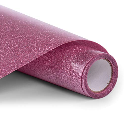 PU HTV Vinyl - 12inch x 5feet Glitter Heat Transfer Vinyl roll for Silhouette Cameo & Cricut Easy to Cut, Weed and Transfer, Iron On Htv Vinyl Design for T-Shirt, clothes and Other Textiles (Pink)