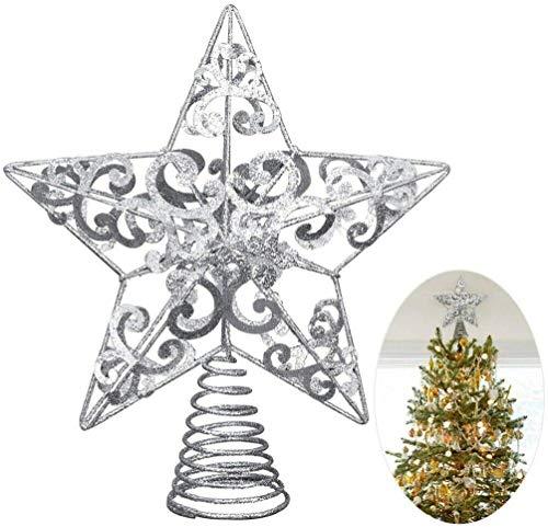 Fashionikon - Puntale per albero di Natale, a forma di stella glitterata, 25 cm, colore: argento metallizzato