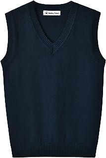 SMINLING Pinker Boys Girls School Uniform Sweater Vest V-Neck Soft Cotton Pullover
