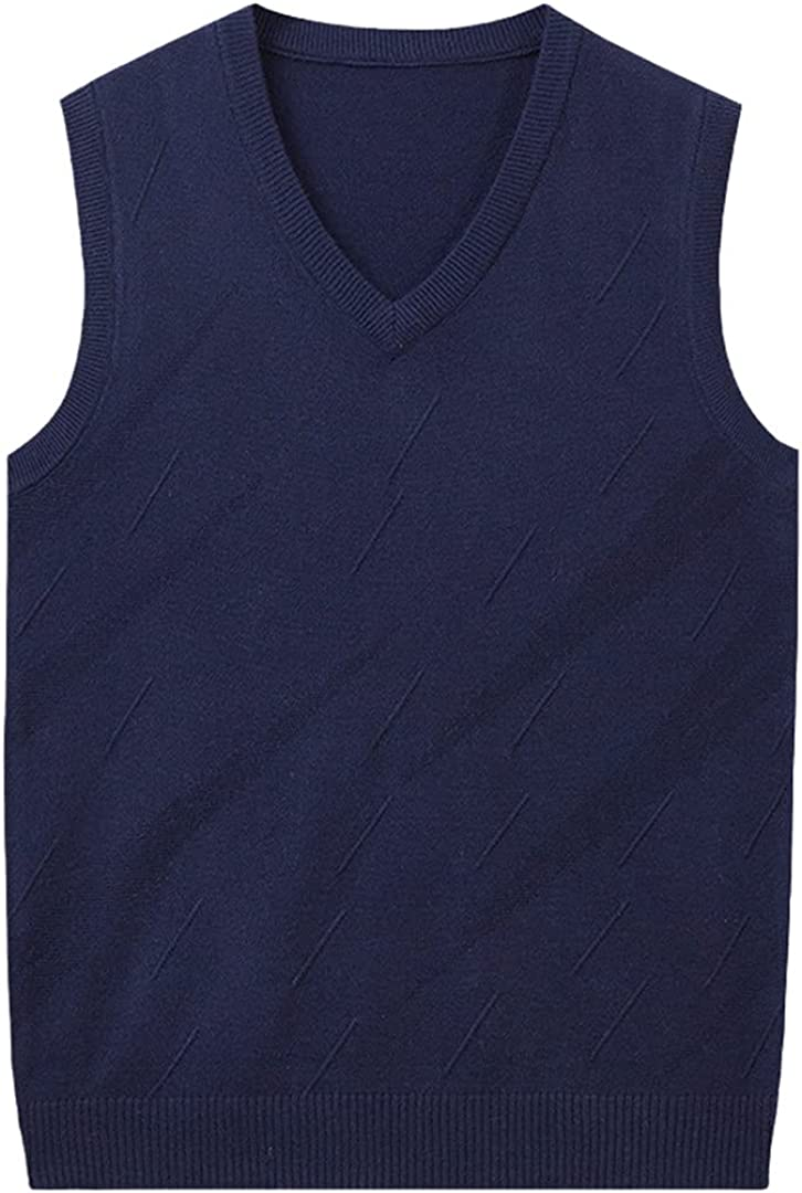 GYSAFJ Men's Sleeveless Sweater Hedging Men Casual Knit Sweater Cashmere V-Neck Vest