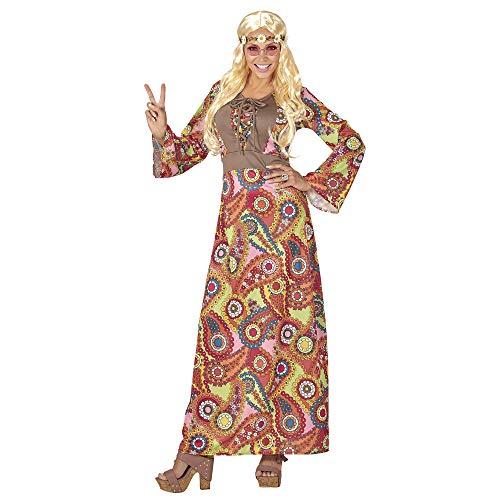 Widmann 06540 - Kostüm Hippie Woman, Kleid mit Weste, Kette mit Peace-Zeichen, Flower Power, Verkleidung, Karneval, Mottoparty