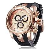 XXHDEE Reloj De Los Hombres Vigilancia De La Atmósfera De Silicona Reloj De Cuarzo Reloj Deportivo De Tres Discos Falsos Reloj (Color : A)