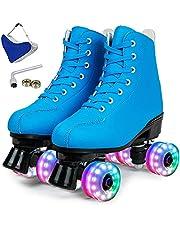 مزلاجات حريمي ذات 4 عجلات عالية ذات صف مزدوج من الجلد للتزلج السريع اللامع للأولاد والبنات والبالغين للجنسين، هدية