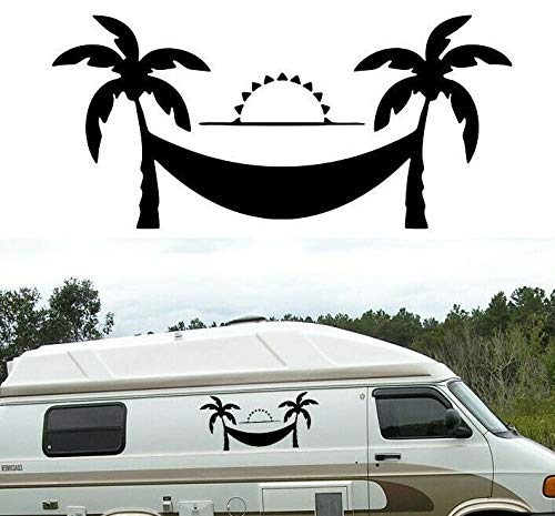 LEON-FOLIEN XXL Palmen Hängematte Sol 80 x 35 cm vacaciones caravanas Autoaufkleber Autoaufkleber Tattoo para salón dormitorio Tuning brillante pantalla en negro & blanco